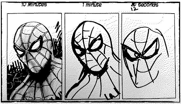 Tres versións dun debuxo de Spiderman: unha feita en 10 minutos, outra nun minuto e outra en 10 segundos. Cada unha é peor que a anterior.