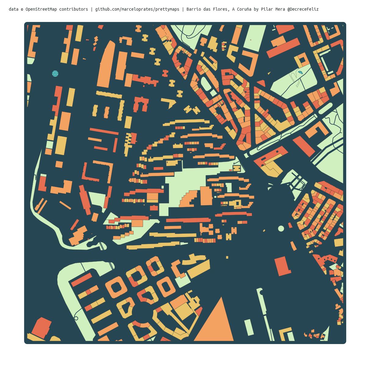 Mapa coloreado do Barrio das Flores e Monelos, na Coruña