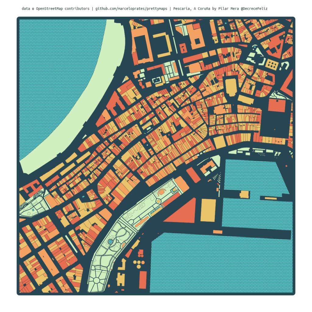 Mapa coloreado dos Cantóns e o Orzán na Coruña